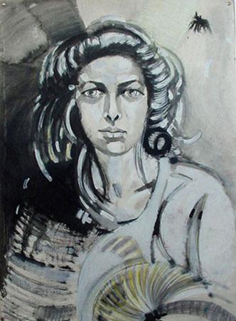 izabelalatos - Black & white portrait. 100 x 55 cm