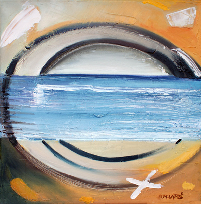 izabelalatos - Beach in Torquay 7 Australia. 40 x 40 cm oil on canvas