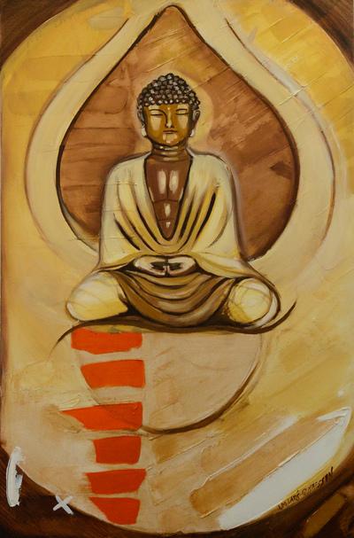 izabelalatos - Thought, Buddha. 120 x 80 cm oil on canvas