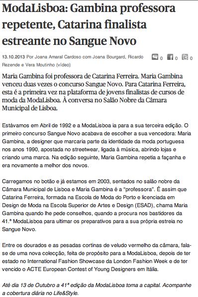 Catarina Ferreira - Público | Sangue Novo com Maria Gambia