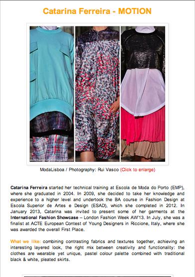 Catarina Ferreira - Fashion Studio Magazine | Motion SS14