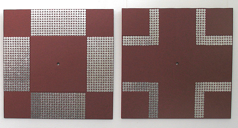 "dmsaul - ""crosslinks 4"", leather, metal, mixed media, 80 x 80 cm."