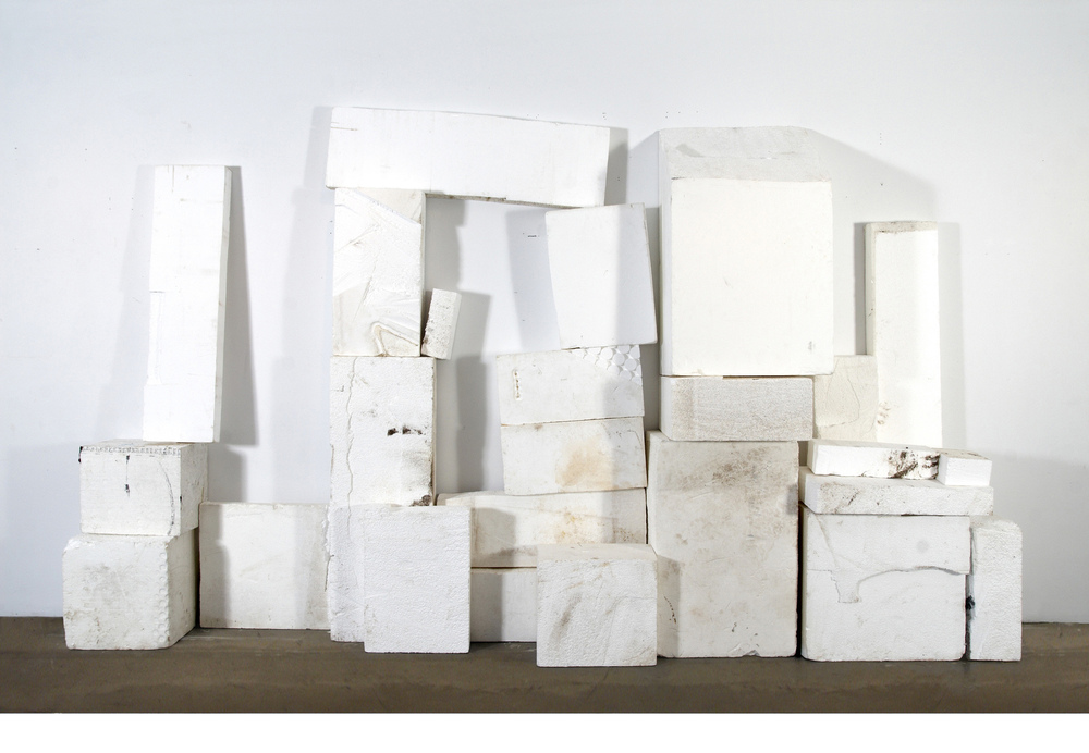 Matias Cuevas - If You Ever Stop Loving Me Found Styrofoam blocks, fire, and mud Dimensions Variable 2008 ©Matias Cuevas