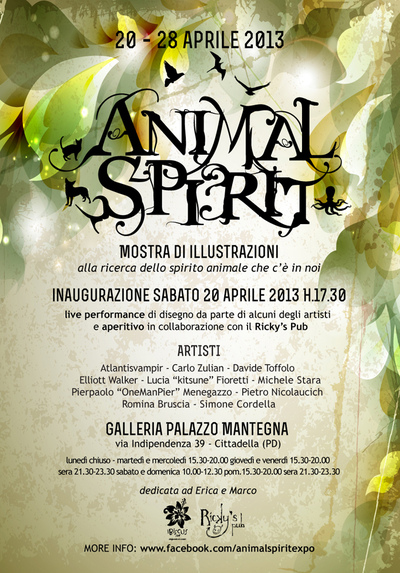 kitsune art - Flyer for Animl Spirit exhibition