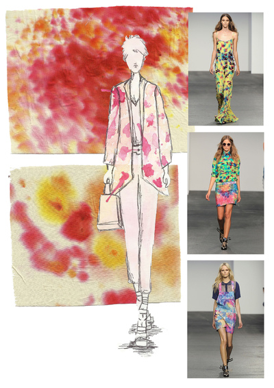 Sarah Davies Fashion Portfolio - These are my house of Holland inspired samples and hand rendered illustration. To create this I used dyes and flicked the dyes onto the fabric to try and make more of a floral effect than a tie dye shabori. The colours I have used compliment each other and create a summery feel.
