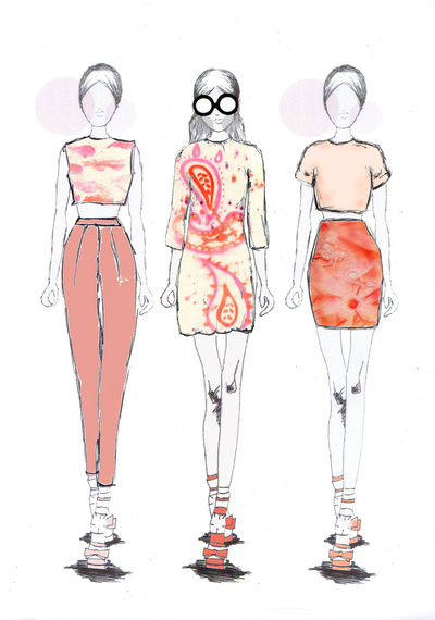 Sarah Davies Fashion Portfolio - Having chosen and developed my final techniques I then had to decide how to work these onto a garment. To do this I created a series of illustrations. These illustrations were created by hand and scanned into Photoshop and edited . This gave me a better idea of how I could use these techniques on garments.