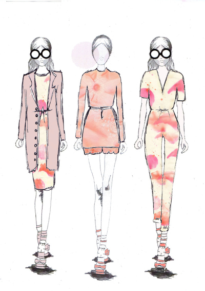 Sarah Davies Fashion Portfolio - These are more illustrations that are inspired by my theme and samples. These were also developed by hand and edited on Photoshop and where inspired by Spring/Summer 2014 Trends.
