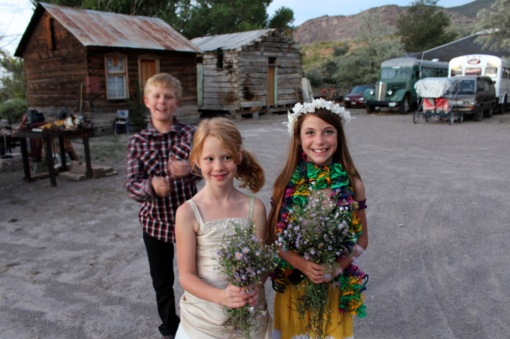 Genevieve French Photography - Flower girls for the hippie wedding, Mystic Hot Springs, Munroe, Utah
