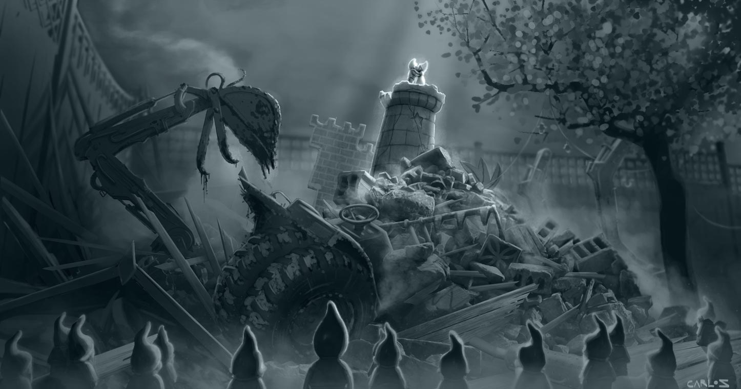 carlos zaragoza ▪ production designer - GNOMEO & JULIET / 2011 / Rocket Pictures / Designer Concept for Gnomeo & Juliets Love after the Battle