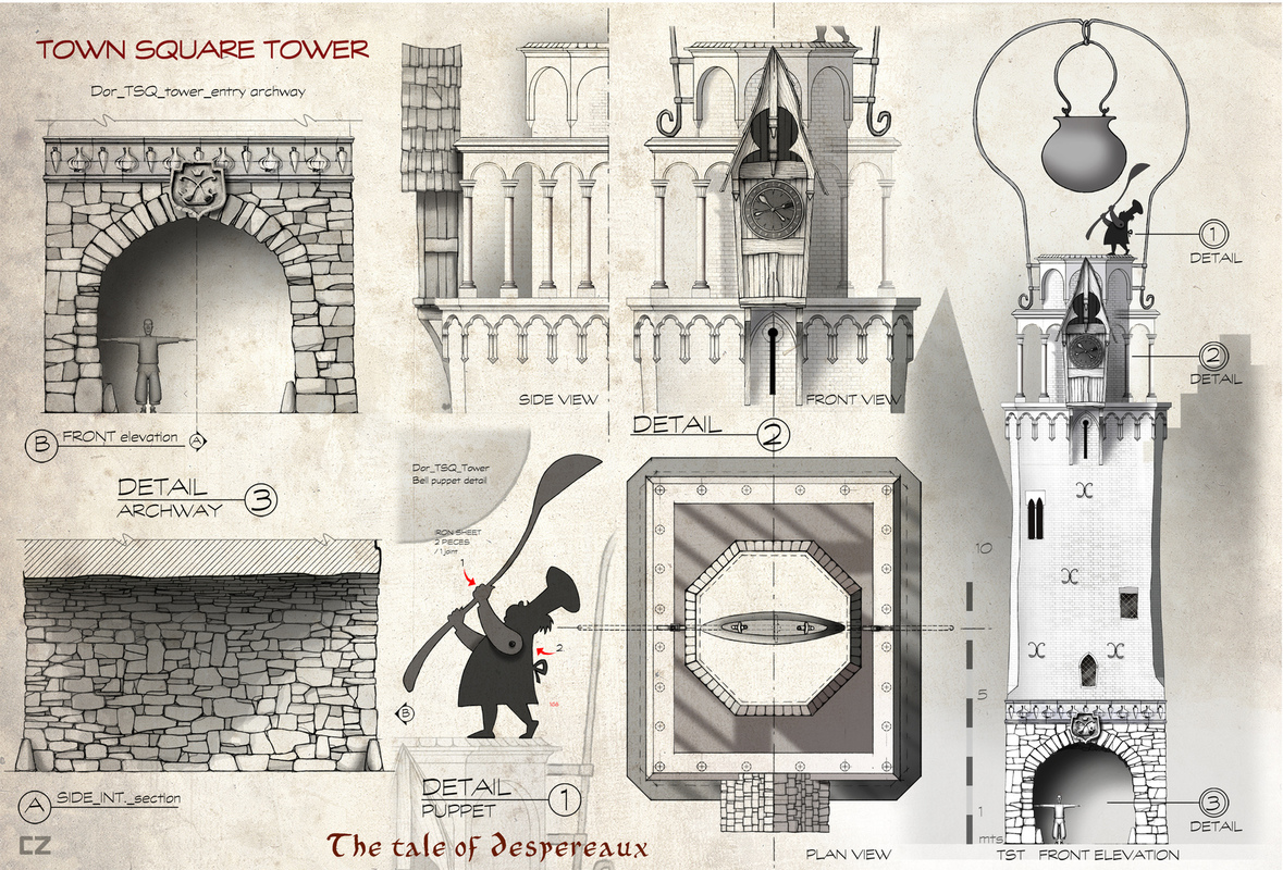 carlos zaragoza ▪ production designer - THE TALE OF DESPEREAUX / 2008 / Universal Animation Studios / Orthographics artist Architectural design details. Town Square Tower