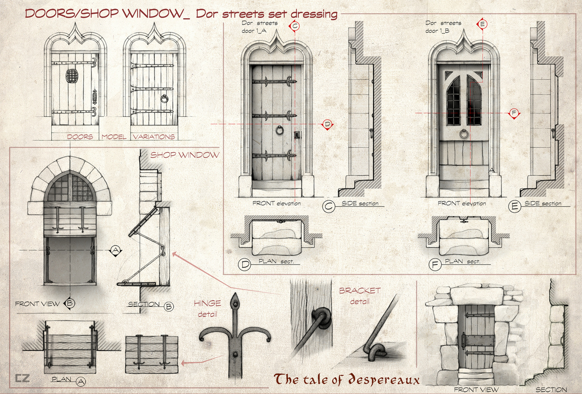 carlos zaragoza ▪ visual storytelling - THE TALE OF DESPEREAUX / 2008 / Universal Animation Studios /Orthographics artist Architectural design details. Town buildings