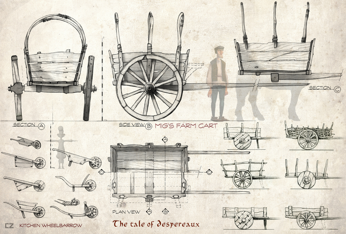 carlos zaragoza ▪ production designer - THE TALE OF DESPEREAUX / 2008 / Universal Animation Studios / Orthographics artist Carts & wheelbarrows design