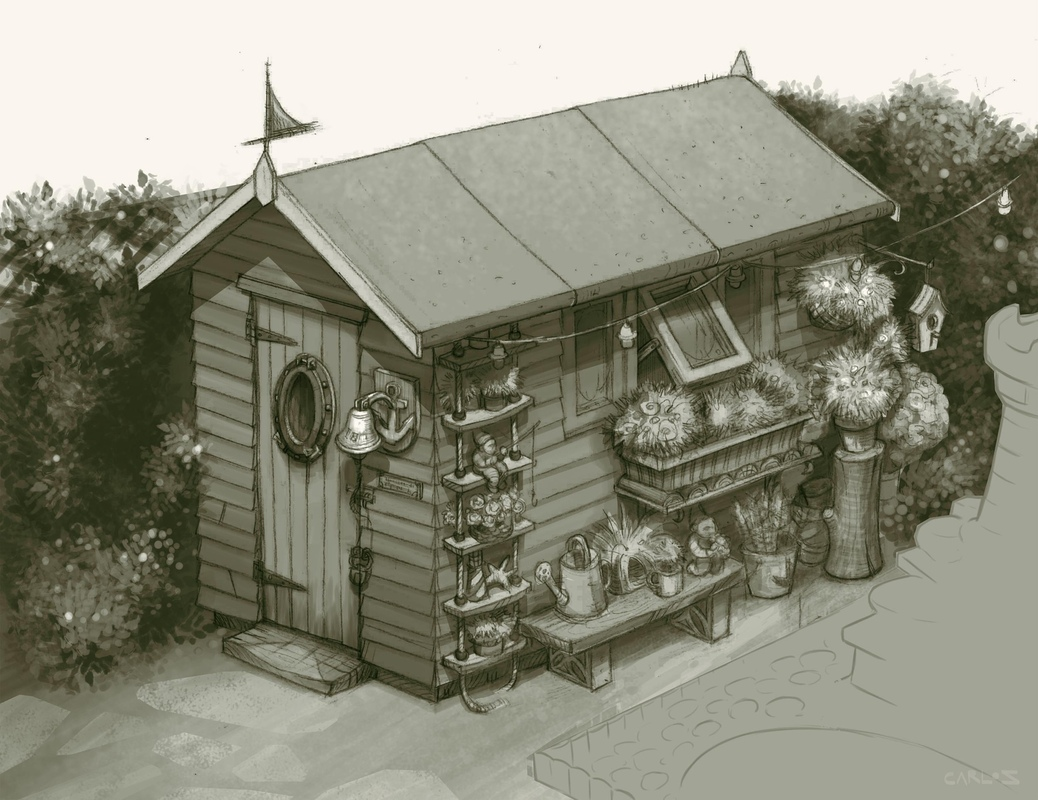 carlos zaragoza ▪ production designer - GNOMEO & JULIET / 2011 / Rocket Pictures / Designer Red Garden Shed design