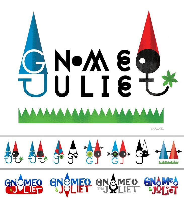 carlos zaragoza ▪ visual storytelling - GNOMEO & JULIET / 2011 / Rocket Pictures / Designer Movie Logo development ideas