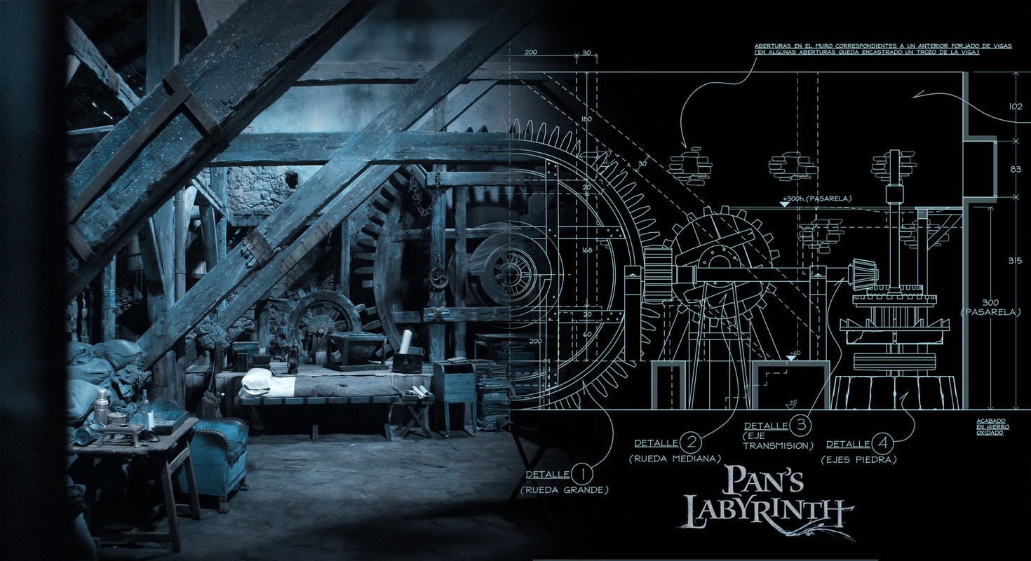 carlos zaragoza ▪ production designer - PANS LABYRINTH / 2006 / A FILM BY GUILLERMO DEL TORO/ Asst. Art Direction (by Carlos Zaragoza) Design for Mills Interior: Vidals Office / Set still All images in this page © Carlos Zaragoza or their respective copyright owner → USE SCROLL BAR / SWIPE / TO SEE MORE →