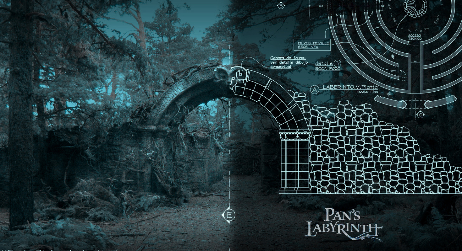 carlos zaragoza ▪ production designer - PANS LABYRINTH / 2006 / A FILM BY GUILLERMO DEL TORO/ Asst. Art Direction (by Carlos Zaragoza) Design for Labyrinth Ruins / Set still