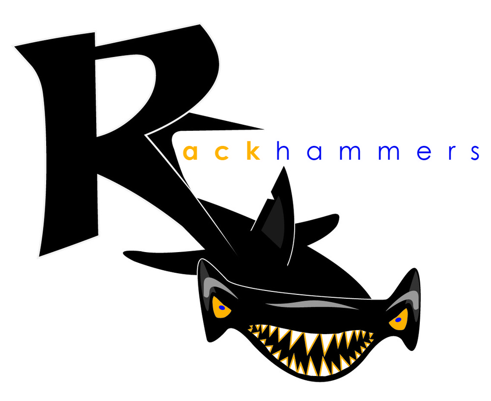 Lyla Feinsod - |Rackhammers| Logo for University of Michigan Intramural sports team, The Rackhammers. The design is based on the teams mascot, the hammerhead shark.