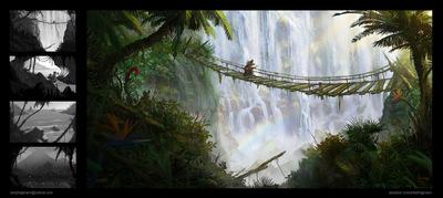 The Art of Randy Hagmann - Environment Concept - Jungle Falls