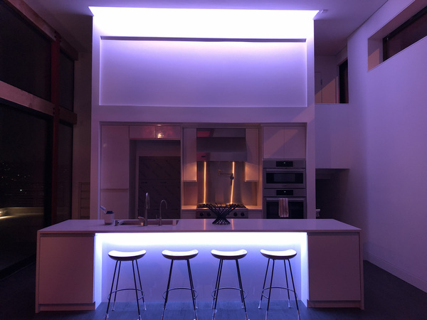 Schism Design - Kitchen with entertainment lighting