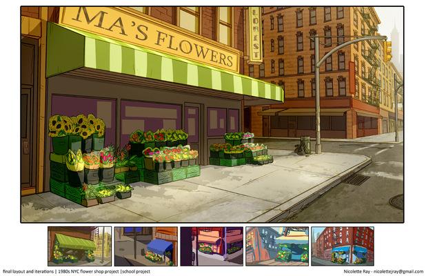 Nicolettes Visual Design Portfolio - layout design - 1980s NYC flower shop