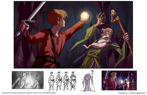 Nicolettes Visual Design Portfolio - Brothers Grimm story moment - The Crystal Ball