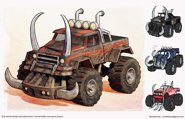 Nicolettes Visual Design Portfolio - vehicle design - animal battle racer game