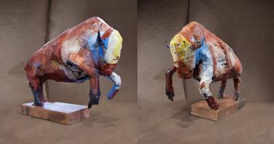 craigmartinezart - Blue Bison / 32x 18 x 9