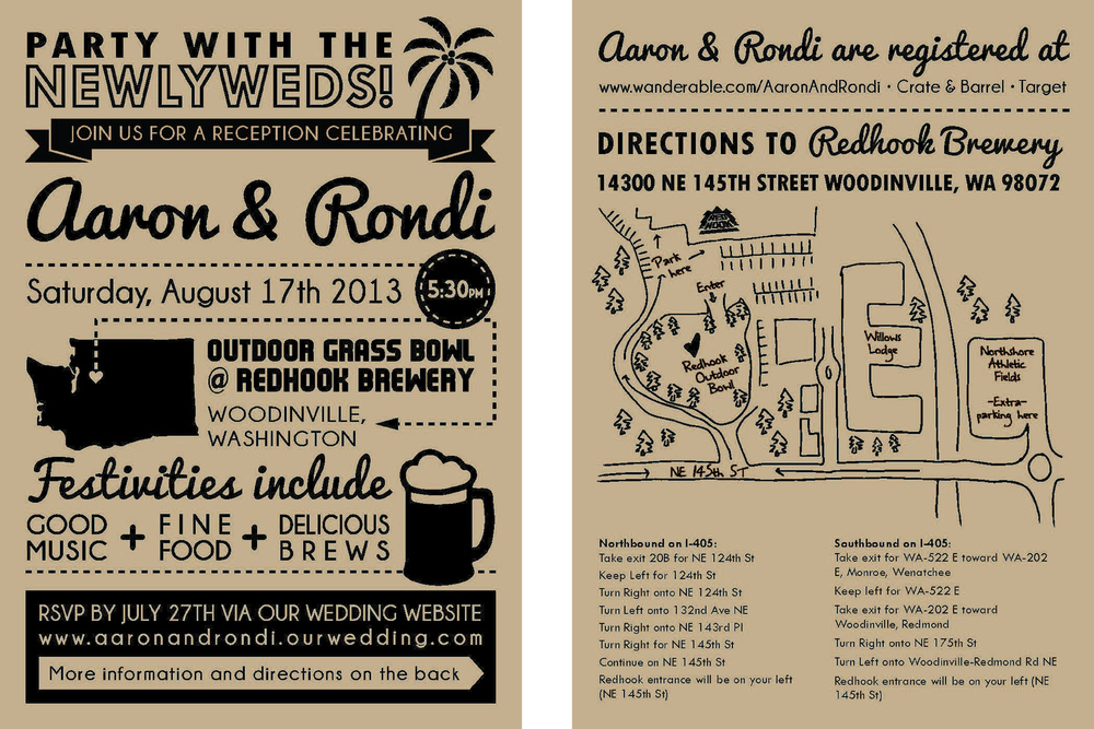 Stacy Reilly Design - A wedding reception invitation. The couple wanted an illustrative way to invite their guests.