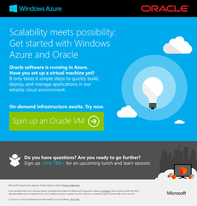 Stacy Reilly Design - Microsoft and Oracle partnership email