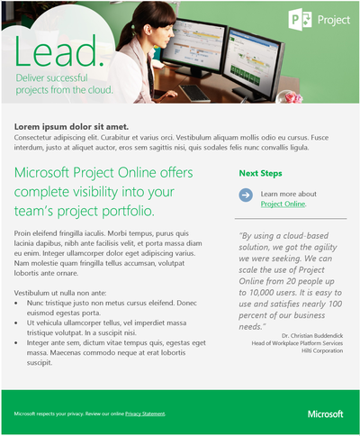 Stacy Reilly Design - Microsoft Project marketing email