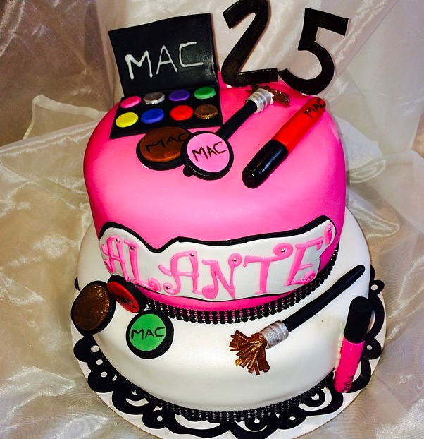 A Bakers Journey - 2 tier makeup themed birthday cake