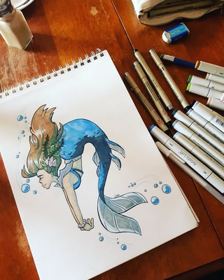 Amanda Thompsons Art Portfolio - Inktober Mermaid