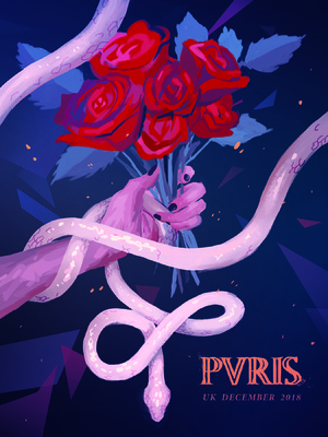 megan wood illustration - PVRIS band poster - Roses