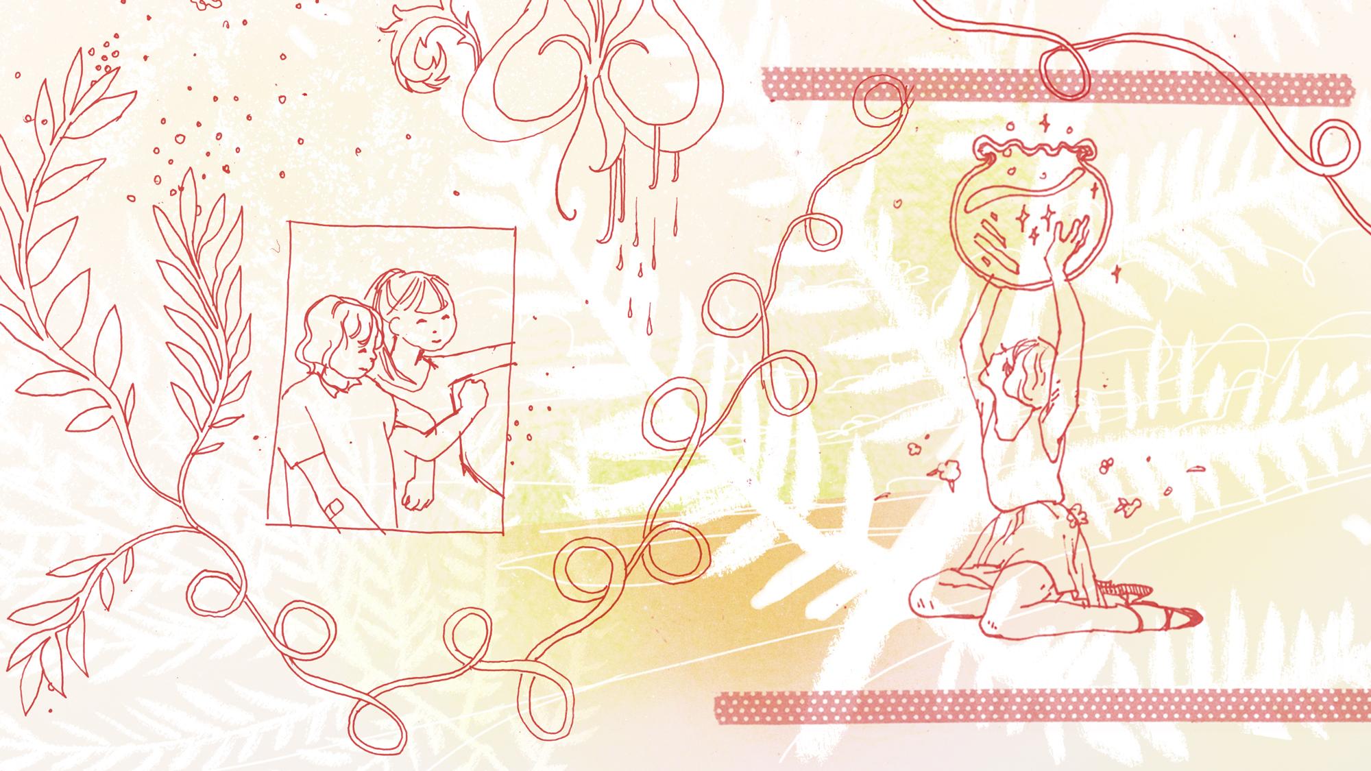 megan wood illustration - Red gel pen