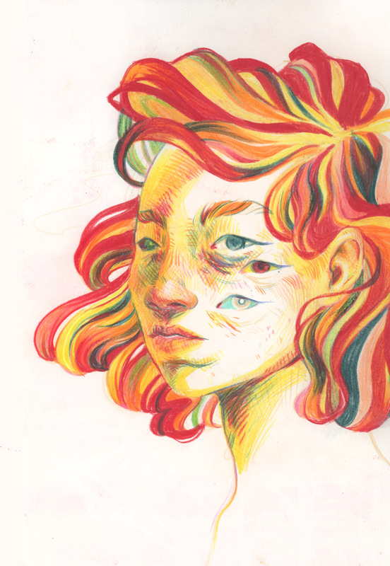 megan wood illustration - Colored pencil