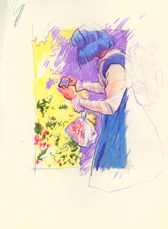 megan wood illustration - Colored pencil, marker