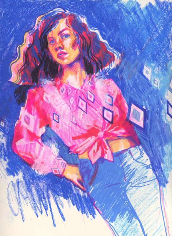 megan wood illustration - Colored pencil, POSCA pens, oil pastel, marker