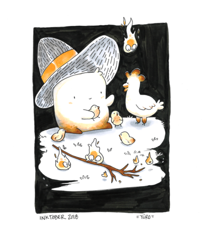 KatHayahshia - Mallow Wizard with Chickens (Inktober 2018) Traditional Media