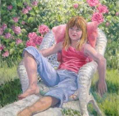 Barbara Reinertson - Katelyn in the Garden 20 x 20