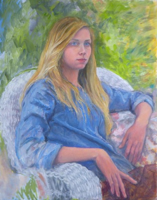 Barbara Reinertson - Anna in the Garden 24 x 30