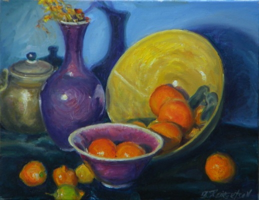 Barbara Reinertson - Still Life with Oranges and Purple Vase 18 X 14