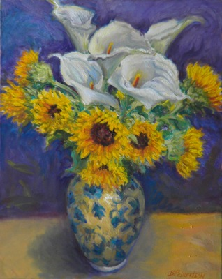Barbara Reinertson - Callas and Sunflowers 16 x 20