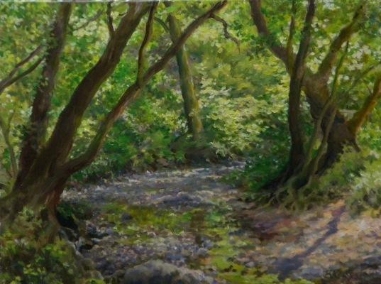 Barbara Reinertson - A Woodland Stream In Summer 24 x 18