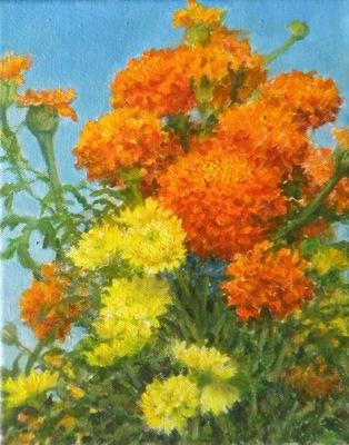 Barbara Reinertson - Sunlit Mums 9 x 12