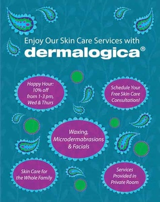 Sara Varon Portfolio - Pro bono design for poster advertising services of local esthetician - recreated Dermalogica typeface from existing product material - Adobe Photoshop and Illustrator