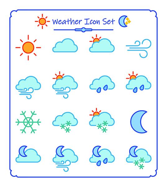 Sara Varon Portfolio - Weather icon set - Adobe Illustrator