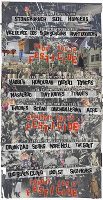 Moshburn - Festicide 2014 festival poster set. 3 17x11 prints