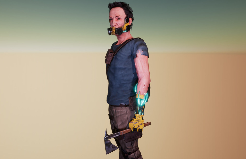 Joels Portfolio - Post Apocalyptic SoldierHigh-poly model made in ZBrush | Low-poly retopology in Maya and 3DS Max | Textures created using Substance Painter | Final Render in Unreal Engine. 81,059 tris. 2017. Click for additional images