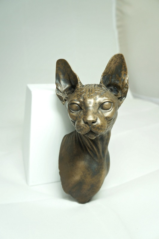 www.mieke-maes.com - Cold cast bronze Sphynx bust