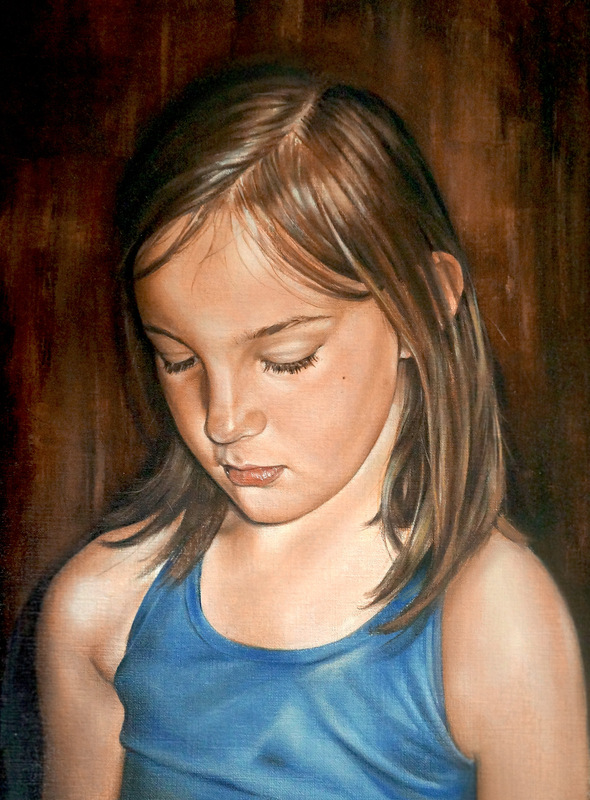 www.mieke-maes.com - Oil painting Charlotte on canvas paper 12 x 14,5 inch